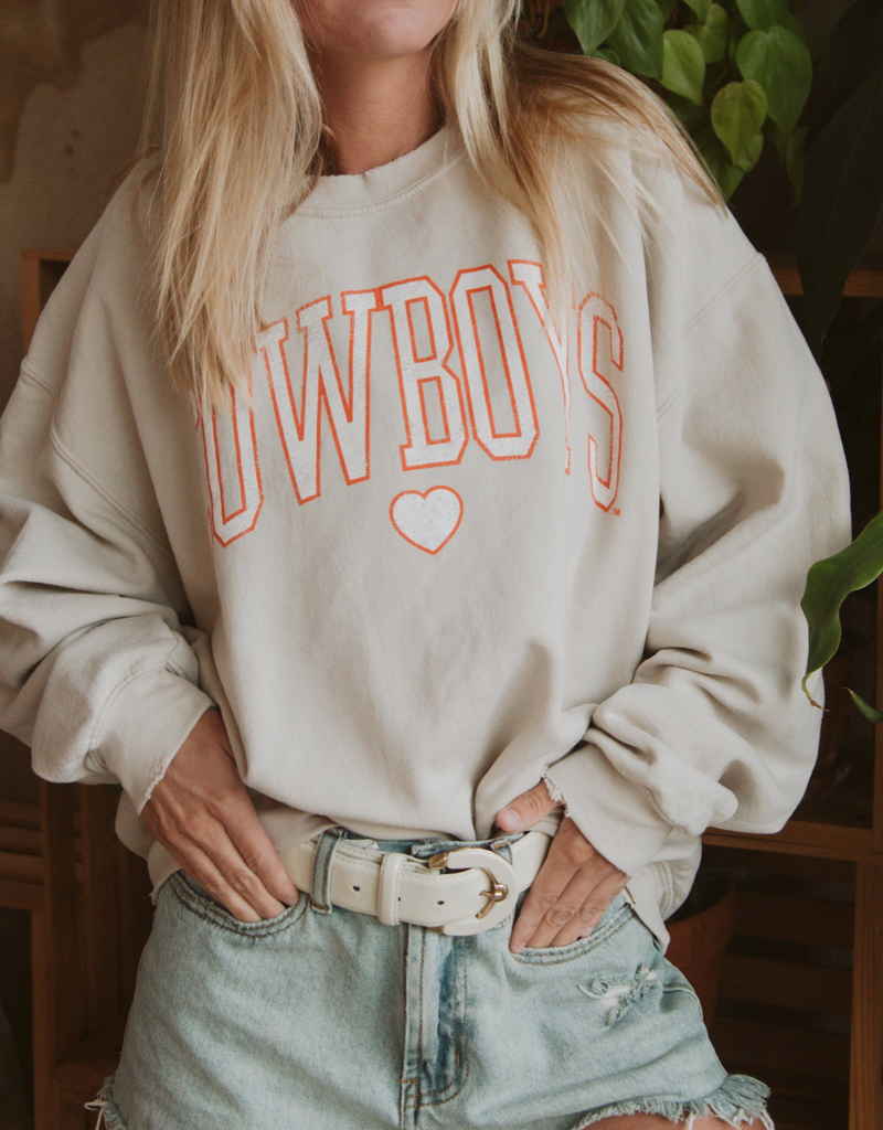 LivyLu cowboys distressed heart thrifted sweatshirt