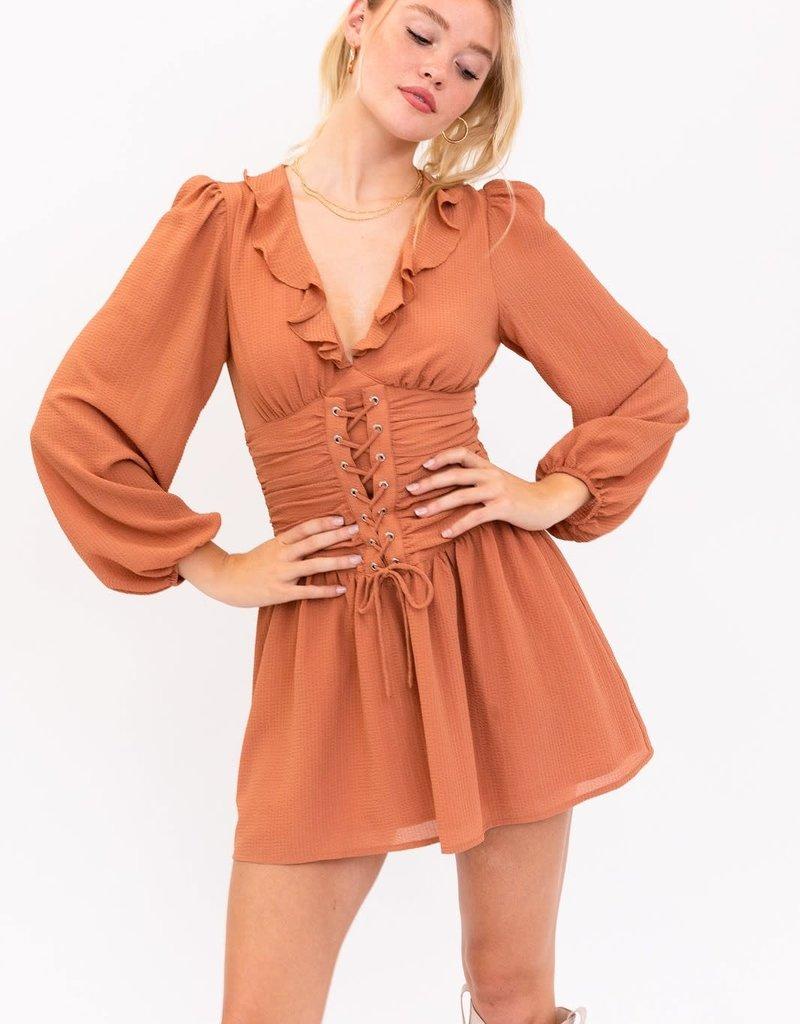 cinched waist long sleeve dress
