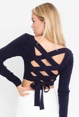long sleeve criss cross back knit top