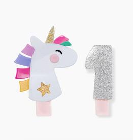 kids number charm & unicorn clip set