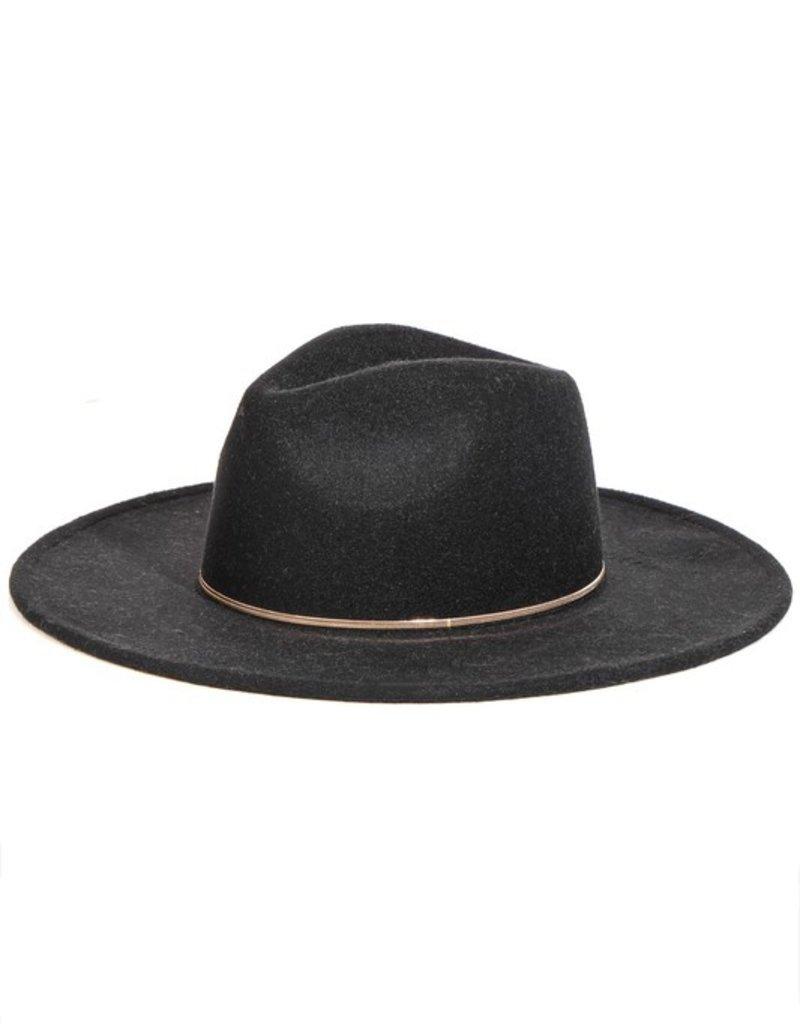 basic wide brim hat - black