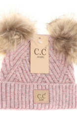 cheveux corp baby perfect blend double fur pom beanie