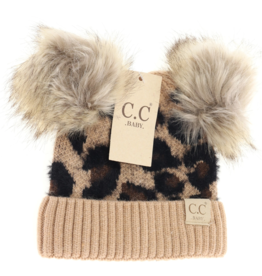cheveux corp baby leopard double pom beanie