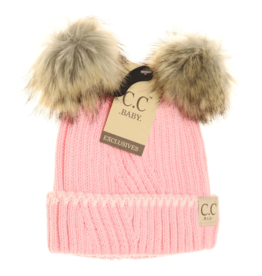 cheveux corp boujee baby double pom fur beanie