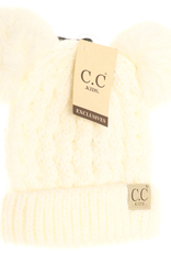 cheveux corp kids cable knit pom beanie