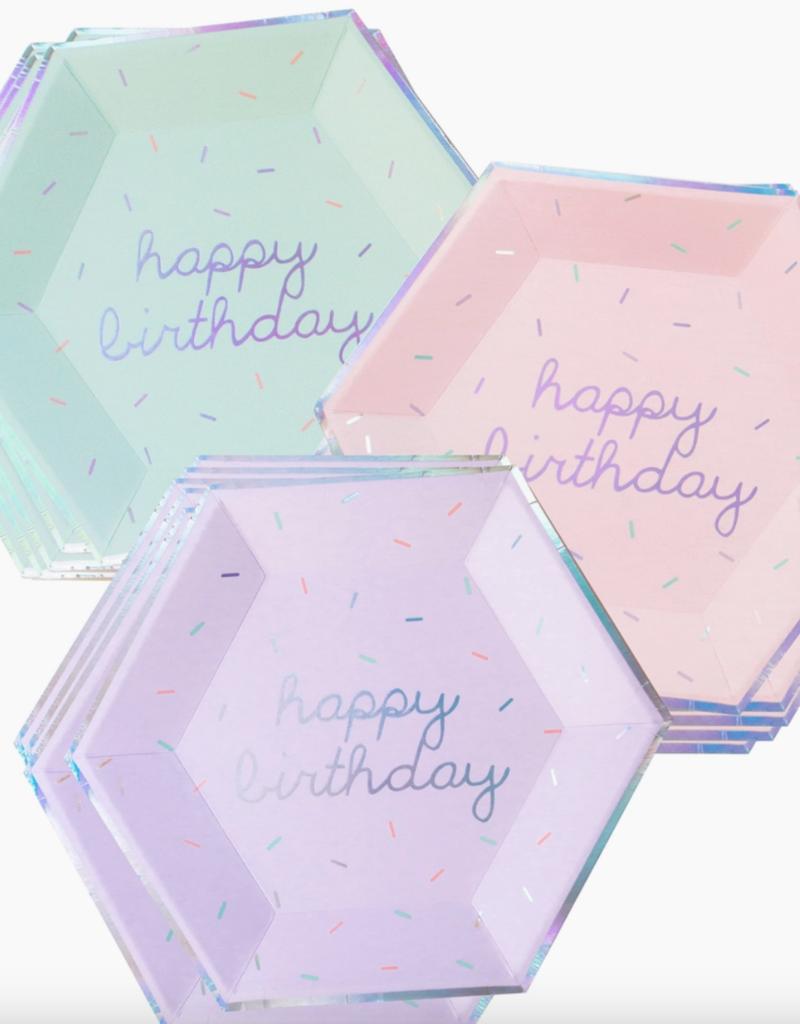 harlow & grey sprinkles birthday paper plate set - large