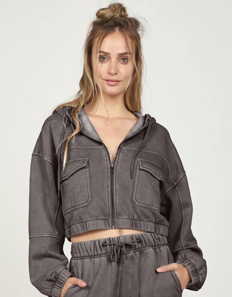washed fleece crop jacket