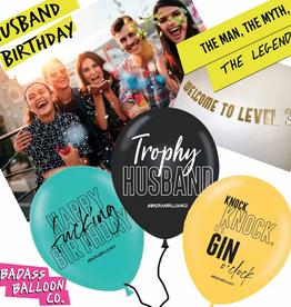 Badass Balloon Co. hubby birthday balloon set of 3