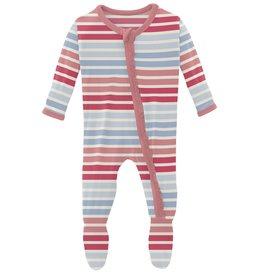 kickee pants cotton candy stripe muffin ruffle footie with zipper