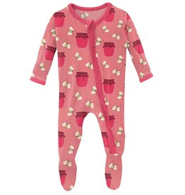 kickee pants strawberry bees and jam muffin ruffle footie with zipper