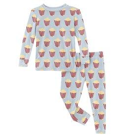 kickee pants illusion blue popcorn long sleeve pajama set