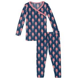 kickee pants navy cotton candy scallop kimono long sleeve pajama set