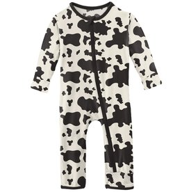 kickee pants cow print coverall with zipper