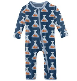 kickee pants navy goldfish prize coverall with zipper