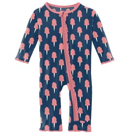 kickee pants navy cotton candy muffin ruffle coverall with zipper