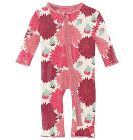 kickee pants natural dahlias muffin ruffle coverall with zipper