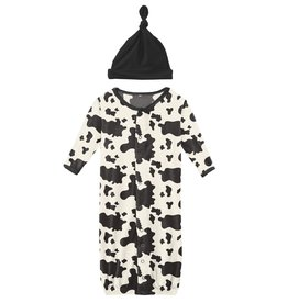 kickee pants cow print gown converter & knot hat set