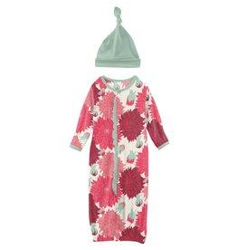 kickee pants natural dahlias gown converter & knot hat set