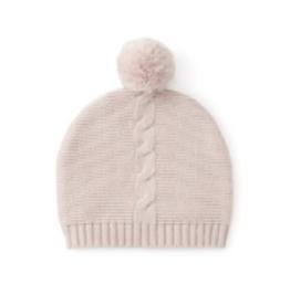 baby pink pom hat 0-12m