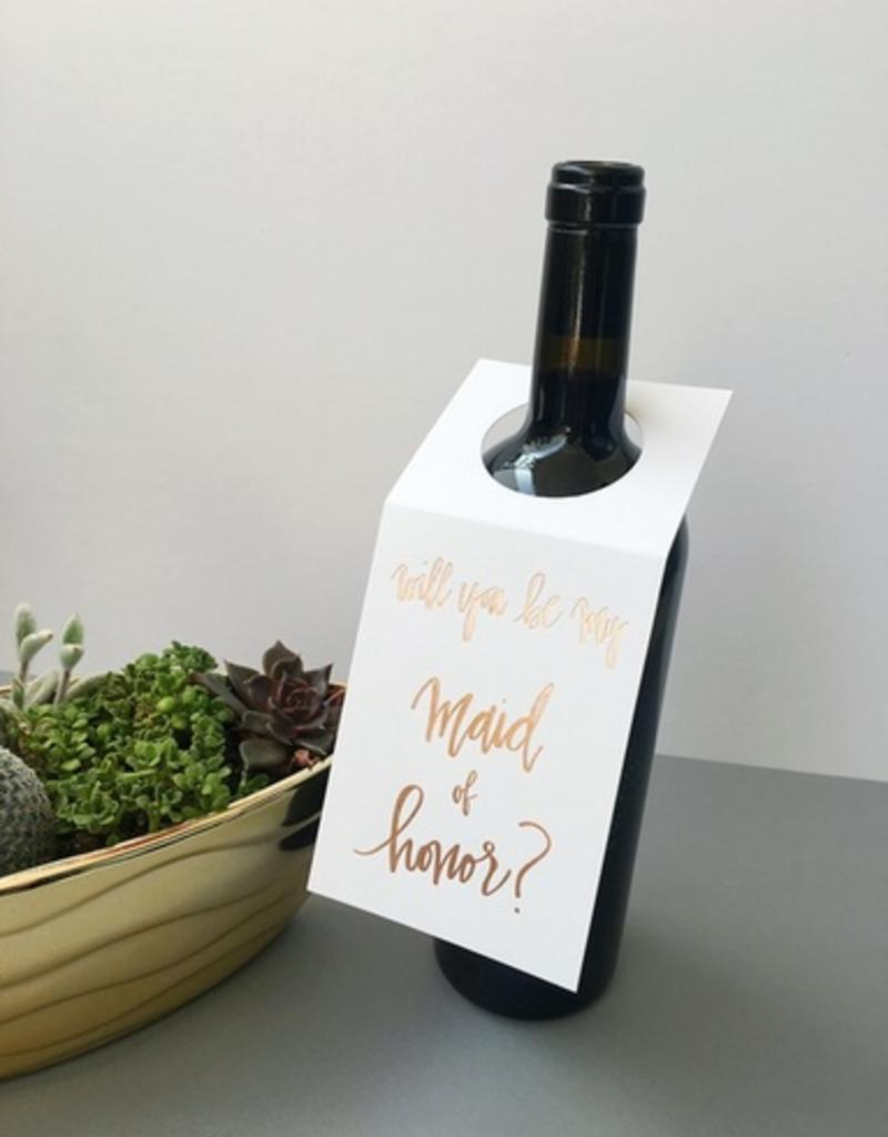 chez gagne maid of honor wine tag FINAL SALE