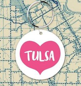 tulsa big pink heart key fob
