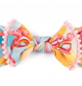 Baby Bling pastel bubble care bear trimmed printed knot