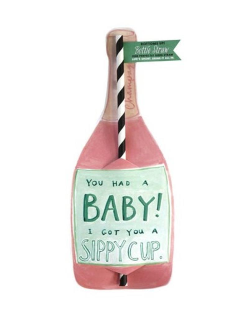 curly girl design sippy cup bottle straw card