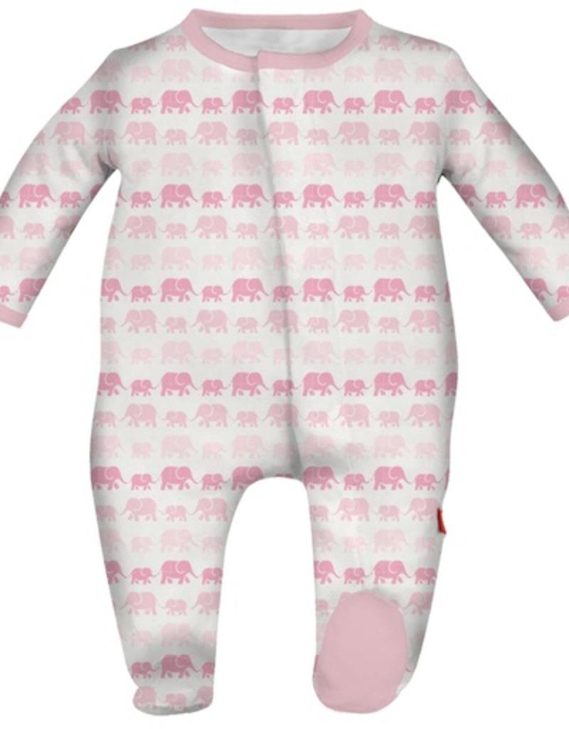 Magnificent Baby magnetic pink dancing elephants modal footie