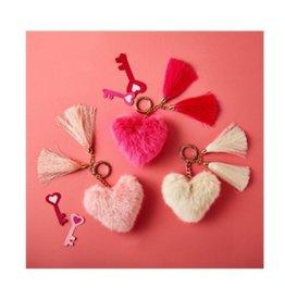 two's company heart faux fur keychain FINAL SALE