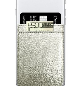 silver faux leather phone pocket