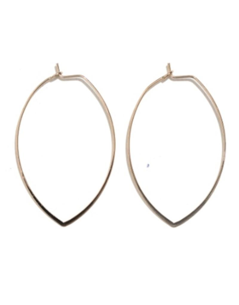 gold thin marquise shaped earrings - small