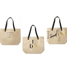 two's company engagement tote bag with pin