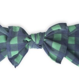 Baby Bling navy/green plaid printed knot
