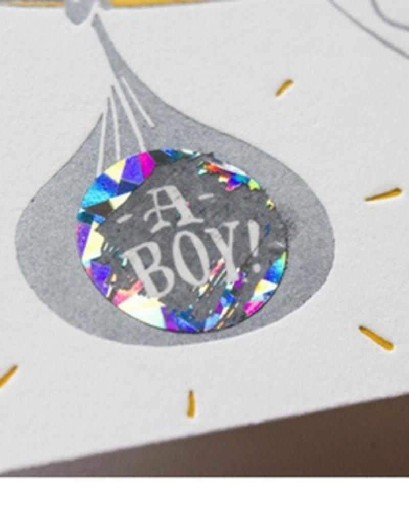 scratch off gender reveal card - boy