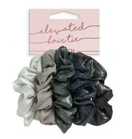 scrunchie 5pc set - black/silver