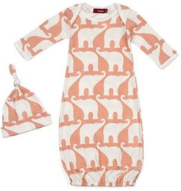milkbarn rose elephant newborn gown + hat gift set