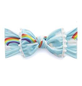 Baby Bling trimmed printer knot headband: rainbow + white pom