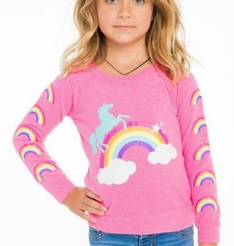 chaser unicorn rainbows knit raglan pullover