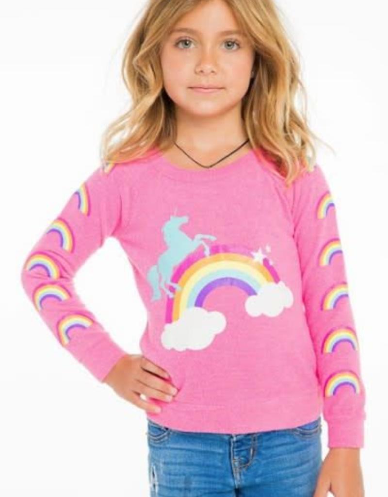 chaser unicorn rainbows knit raglan pullover