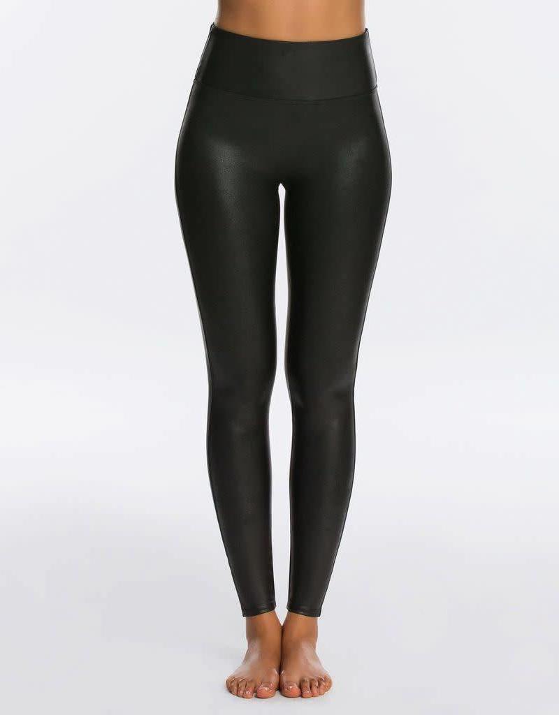 spanx black faux leather leggings