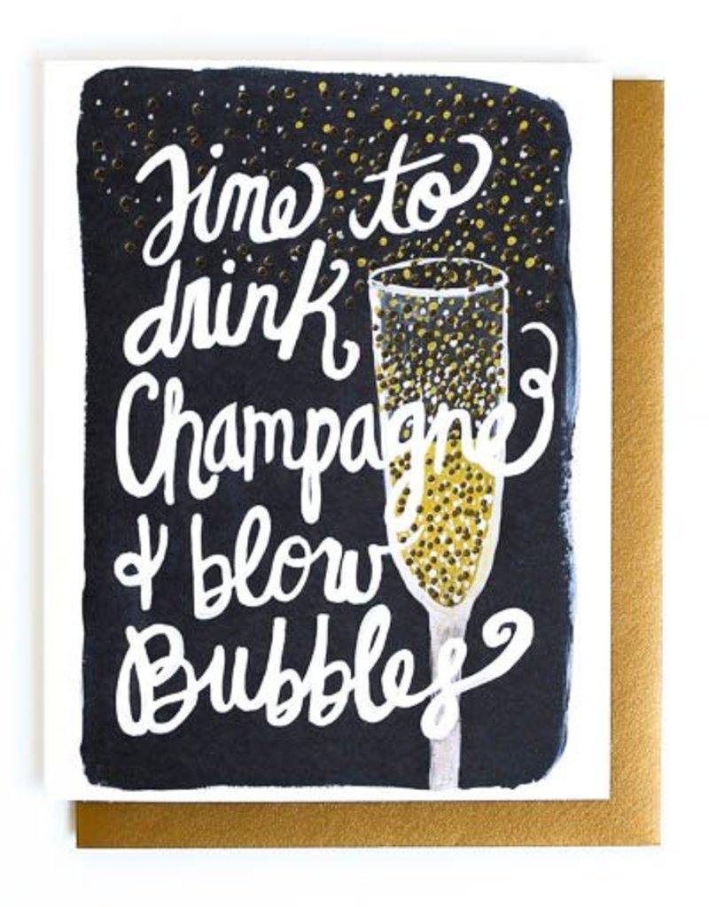 champagne & blow bubbles card