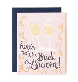 here's to bride and groom card