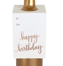 chez gagne happy birthday rose gold wine & spirit tag
