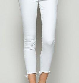 mid rise frayed step hem skinny jeans