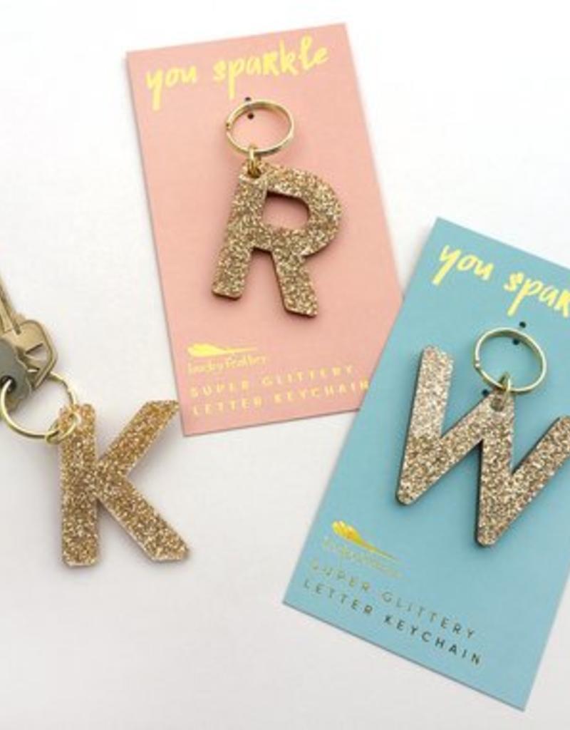 glitter initial keychain