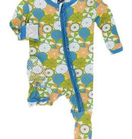 kickee pants beach umbrellas muffin ruffle footie with zipper