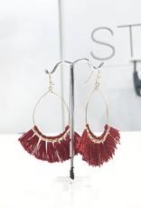 burgandy fringe oval earrings