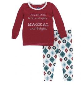 kickee pants holiday pajama set natural vintage ornaments FINAL SALE