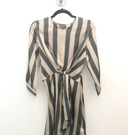 stripe knotted front dress