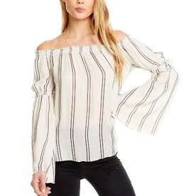 heirloom gauze smocked off the shoulder peplum sleeve top